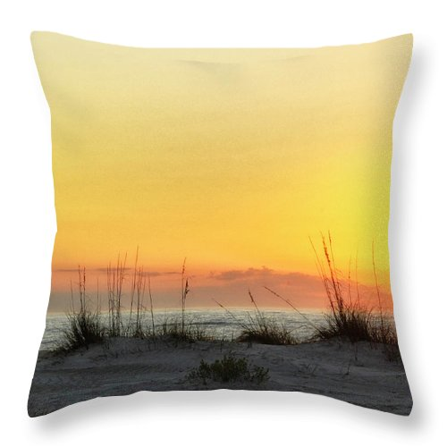Sunset Throw Pillow featuring the photograph Sunset On The Gulf by Peg Runyan