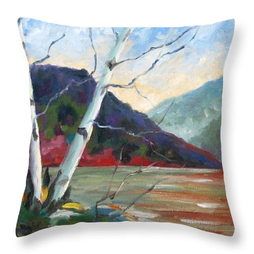 Landscape; Landscapes/scenic; Birches;sun;lake;pranke Throw Pillow featuring the painting Sunset On The Lake by Richard T Pranke