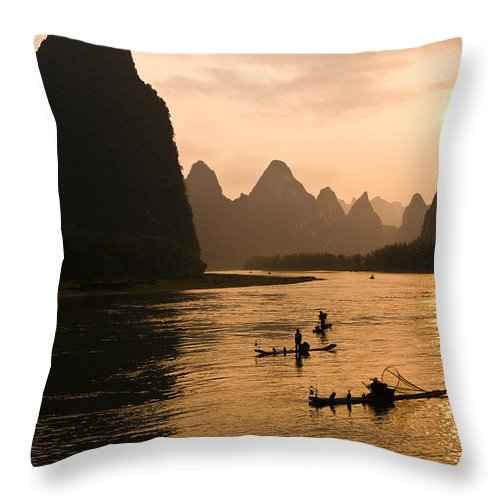 Asia Throw Pillow featuring the photograph Sunset On The Li River by Michele Burgess