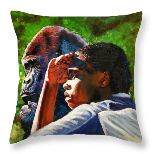 Gorilla Throw Pillow featuring the painting Sunset On The Myth by John Lautermilch