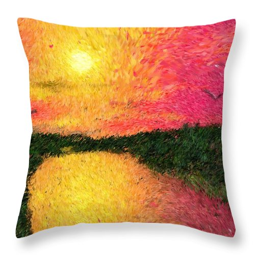 Digital Art Throw Pillow featuring the digital art Sunset On The River by David Lane