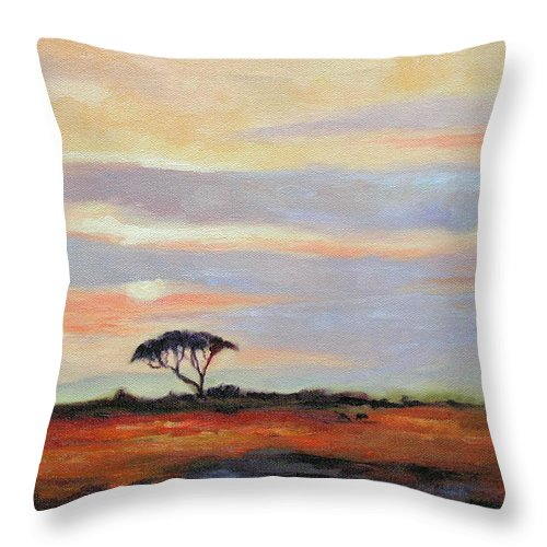 Landscape Throw Pillow featuring the painting Sunset On The Serengheti by Ginger Concepcion