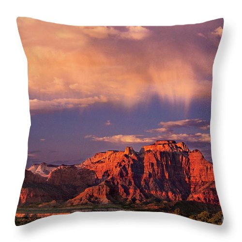North America Throw Pillow featuring the photograph Sunset On West Temple Zion National Park by Dave Welling