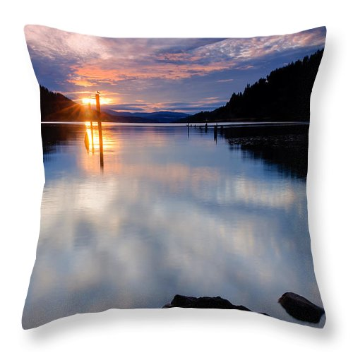 Dusk Throw Pillow featuring the photograph Sunset On Wolf Lodge Bay by Idaho Scenic Images Linda Lantzy