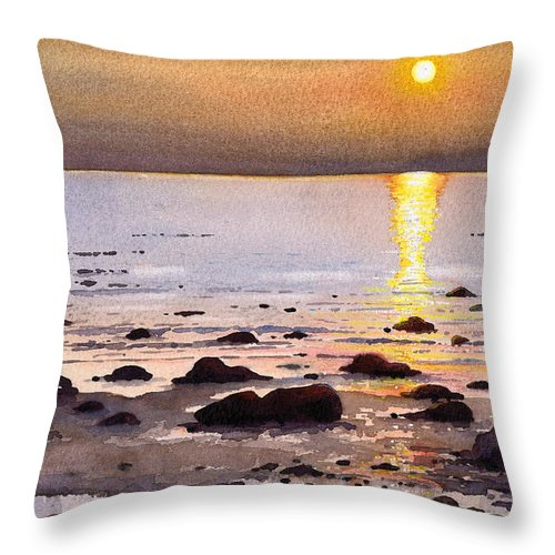 Sunset Throw Pillow featuring the painting Sunset Over Cara by Paul Dene Marlor