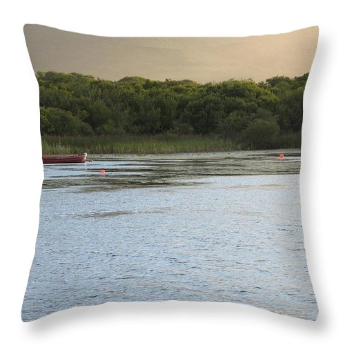 Boat Throw Pillow featuring the photograph Sunset Over Killarney by Kelly Mezzapelle
