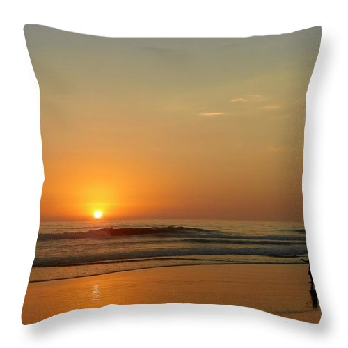 Pacific Throw Pillow featuring the photograph Sunset over La Jolla Shores by Christine Till