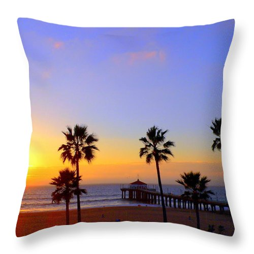Sunset Throw Pillow featuring the photograph Sunset Over Manhattan Beach by Jeff Lowe
