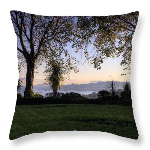Blue Throw Pillow featuring the photograph Sunset Over The Firth Of Forth From Inverkeithing by Mike Lester