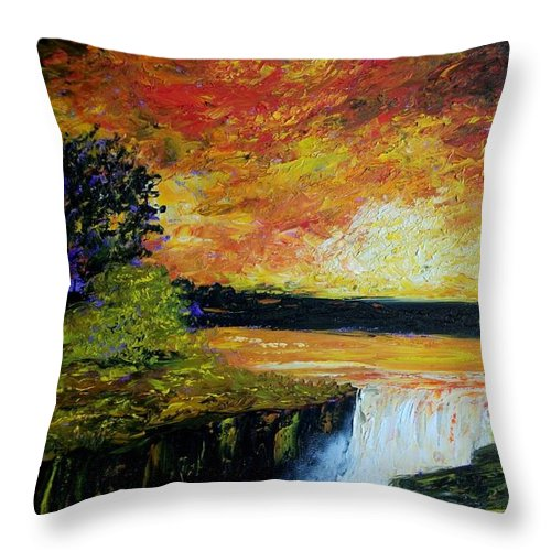 Sunset Throw Pillow featuring the painting Sunset Over The Lake by Tami Booher