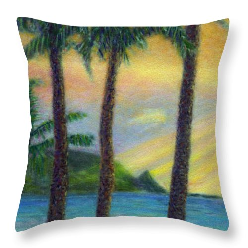 Rainbow Colors Pastel Throw Pillow featuring the painting Sunset Palms by Kenneth Grzesik