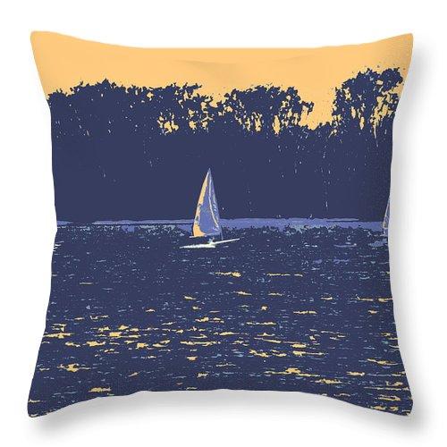 Sail Boat Throw Pillow featuring the digital art Sunset Race by Ian MacDonald