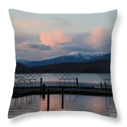 Priest Lake Throw Pillow featuring the photograph Sunset Reflecting Off Priest Lake by Carol Groenen