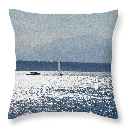 Boats Throw Pillow featuring the photograph Sunset Sailboats by Carol Eliassen