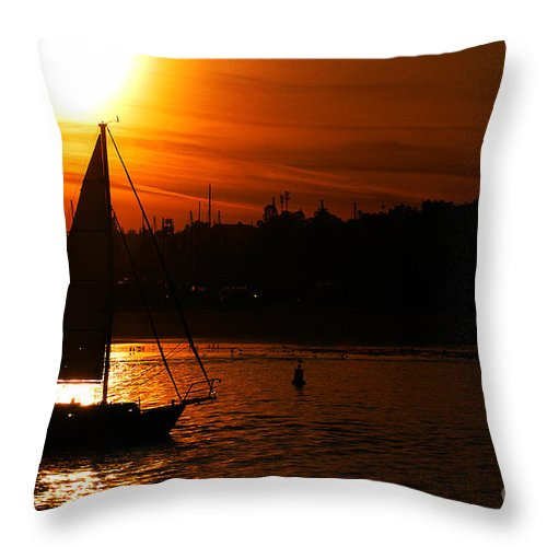 Clay Throw Pillow featuring the photograph Sunset Sailing by Clayton Bruster