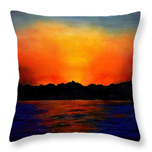 Sinai Sunset Throw Pillow featuring the painting Sunset Sinai by Helmut Rottler