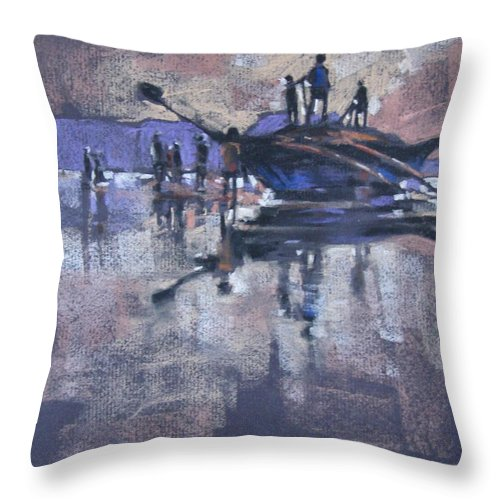 Beach Throw Pillow featuring the painting Sunset by Snehal Page