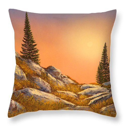 Mountains Throw Pillow featuring the painting Sunset Spruces by Frank Wilson