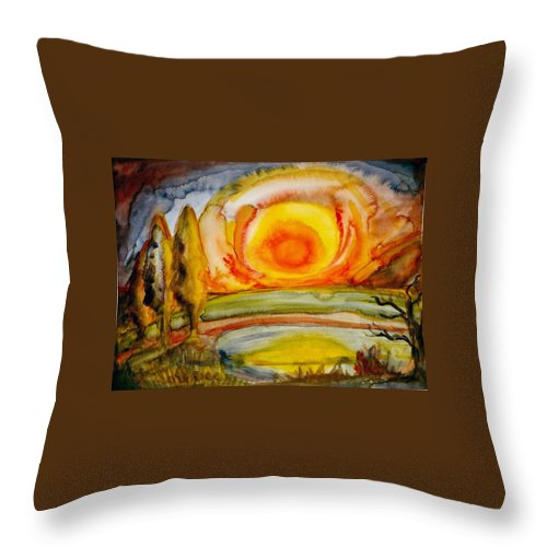 Stockmar Watercolors Throw Pillow featuring the painting Sunset by Stephen Hawks
