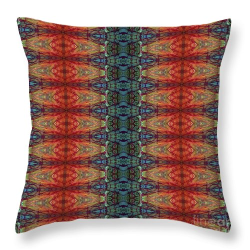 Batik Throw Pillow featuring the painting Sunset Strip Tiled by Sue Duda