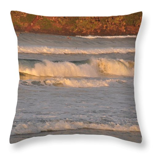 Gold Coast Throw Pillow featuring the photograph Sunset Surf by Csilla Florida
