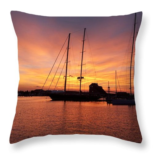 Sunset Throw Pillow featuring the photograph Sunset Tall Ships by Steven Natanson