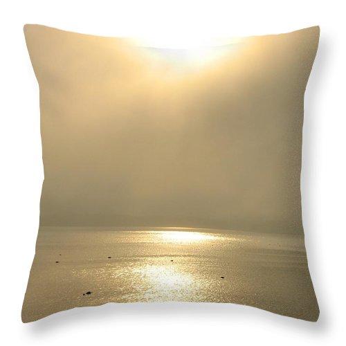 Sun Throw Pillow featuring the photograph Sunset Through Fog by Kelly Mezzapelle