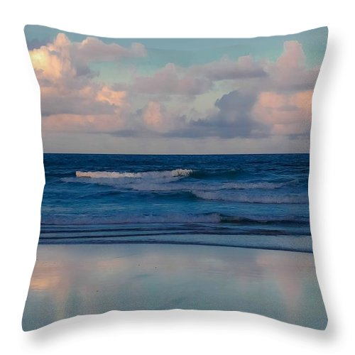 Ocean Throw Pillow featuring the digital art Sunset Tides by DigiArt Diaries by Vicky B Fuller