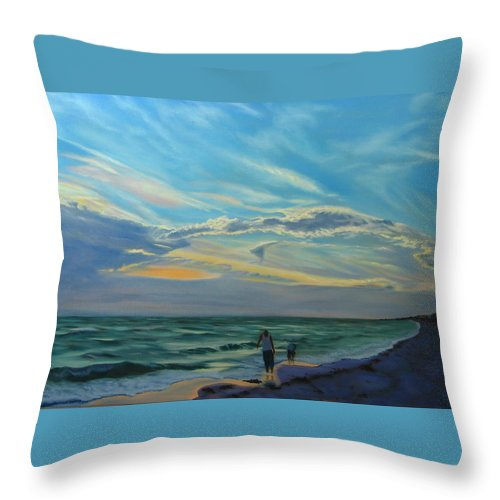 Seascape Throw Pillow featuring the painting Sunset Treasure Hunt by Lea Novak