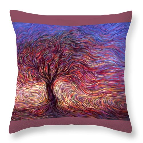 Tree Throw Pillow featuring the painting Sunset Tree by Hans Droog