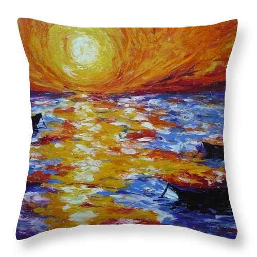 Landscape Throw Pillow featuring the painting Sunset With Three Boats by Ericka Herazo