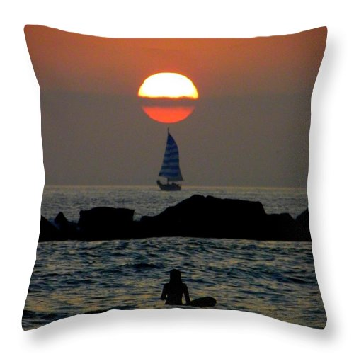 Sunset Throw Pillow featuring the photograph Sunset With Yacht And Surfer by Henry Murray