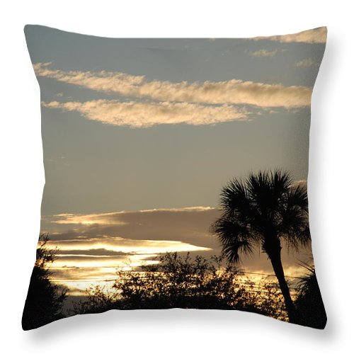 Clouds Palm Trees Throw Pillow featuring the photograph Sunsets In The West by Rob Hans
