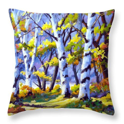 Art Throw Pillow featuring the painting Sunshine And Birches by Richard T Pranke