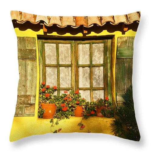 Window Throw Pillow featuring the photograph Sunshine And Shutters by Bel Menpes