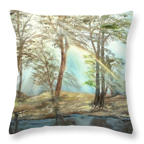 Landscape River Trees Sunshine Reflections Throw Pillow featuring the painting Sunshine by Kenneth LePoidevin