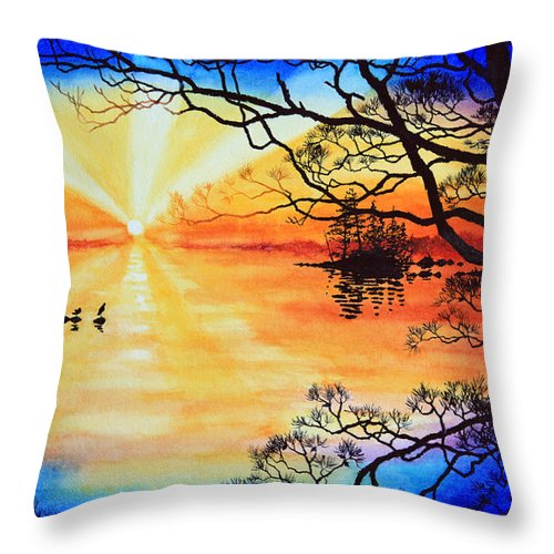 Northern Ontario Painting By Hanne Lore Koehler Throw Pillow featuring the painting Sunshine On My Shoulders by Hanne Lore Koehler