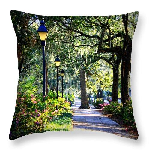 Savannah Throw Pillow featuring the photograph Sunshine On Savannah Sidewalk by Carol Groenen
