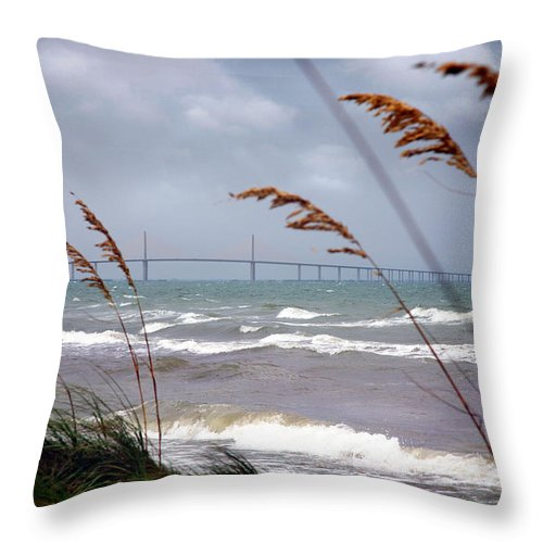 Sunshine Throw Pillow featuring the photograph Sunshine Skyway Bridge Viewed From Fort De Soto Park by Mal Bray