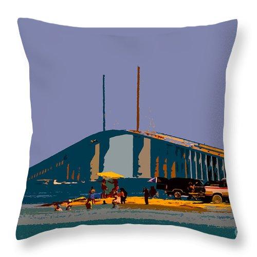 Sunshine Skyway Bridge Throw Pillow featuring the photograph Sunshine Skyway by David Lee Thompson