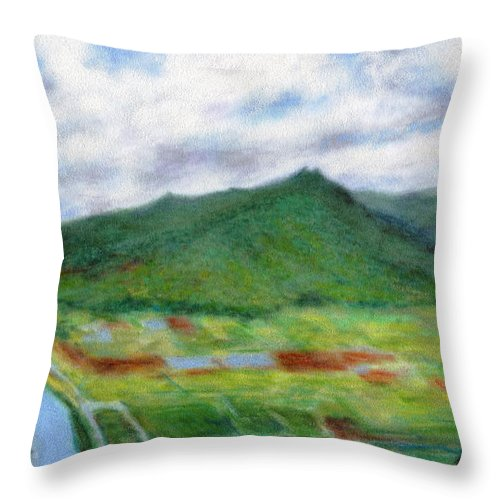 Rainbow Colors Pastel Throw Pillow featuring the painting Sunspot by Kenneth Grzesik