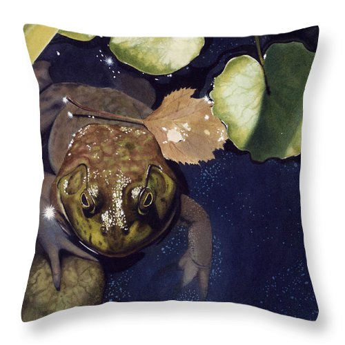 Frog Throw Pillow featuring the painting Sunspots by Denny Bond