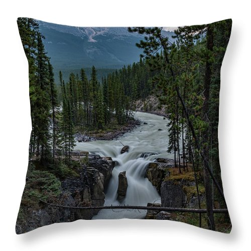 Canadian Rockies Throw Pillow featuring the photograph Sunwapta Falls by Todd Carriveau