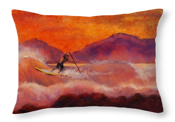 Standup Paddleboarding Throw Pillow featuring the painting S.u.p. by Lynee Sapere