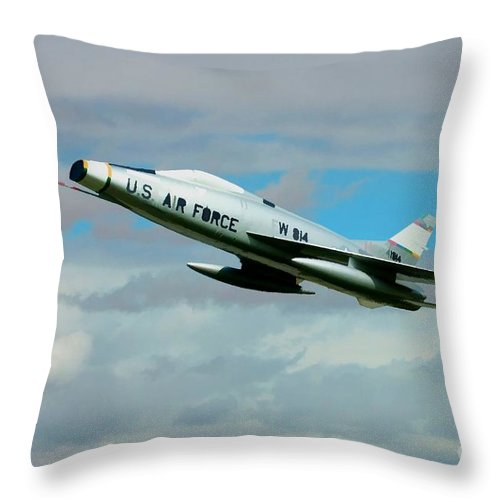 North American Throw Pillow featuring the digital art Super Sabre North American F-100 by Tommy Anderson