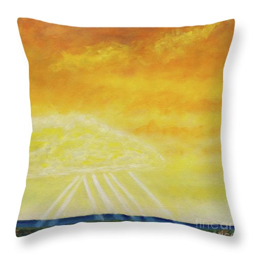 Landscape Throw Pillow featuring the painting Super Seven by Brian Commerford