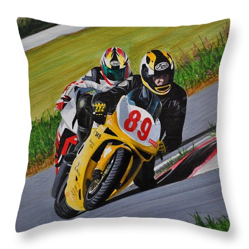 Motorcycle Throw Pillow featuring the painting Superbikes by Kenneth M Kirsch