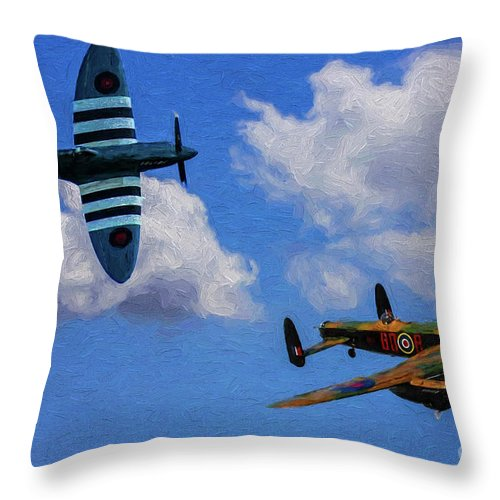 Supermarine Spitfire Mk1 Throw Pillow featuring the digital art Supermarine Spitfire Mk1 And Avro Lancaster - Oil by Tommy Anderson