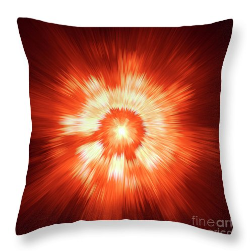 Supernova Genesis Big Bang Ray X-ray Explosion Abstract Beam Universe Expressionism Dynamic Energy Power Color Colorful Red Yellow Modern Sun Sf Throw Pillow featuring the digital art Supernova 2 by Steve K