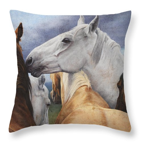 Michelle Grant Throw Pillow featuring the painting Support Group by JQ Licensing